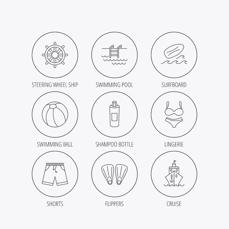 swimming shorts: Surfboard, swimming pool and trunks icons. Beach ball, lingerie and shorts linear signs. Flippers, cruise ship and shampoo icons. Linear colored in circle edge icons.