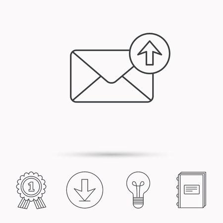 outbox: Mail outbox icon. Email message sign. Upload arrow symbol. Download arrow, lamp, learn book and award medal icons. Illustration