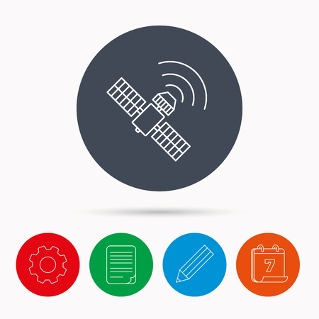 satellite navigation: GPS icon. Satellite navigation sign. Calendar, cogwheel, document file and pencil icons. Illustration