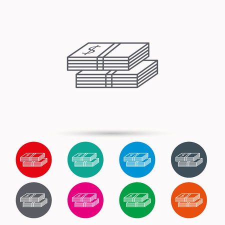 wads: Cash icon. Dollar money sign. USD currency symbol. 2 wads of money. Linear icons in circles on white background. Illustration