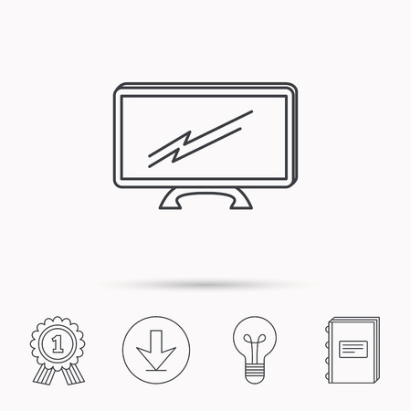 lcd display: Lcd tv icon. Led monitor sign. Widescreen display symbol. Download arrow, lamp, learn book and award medal icons.