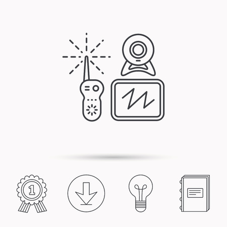 nanny: Baby monitor icon. Video nanny for newborn sign. Radio set with camera and tv symbol. Download arrow, lamp, learn book and award medal icons.