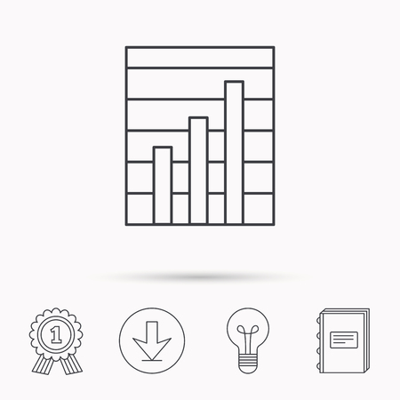 demand: Chart icon. Graph diagram sign. Demand growth symbol. Download arrow, lamp, learn book and award medal icons. Illustration