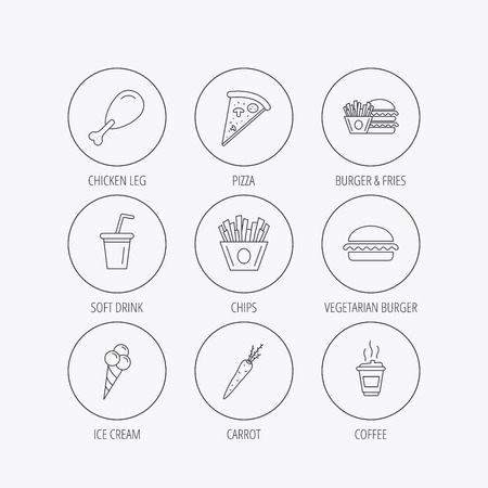 edge of the ice: Vegetarian burger, pizza and soft drink icons. Coffee, ice cream and chips fries linear signs. Chicken leg, carrot icons. Linear colored in circle edge icons.