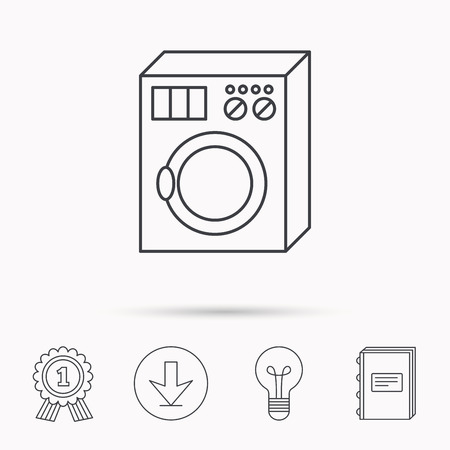 washer machine: Washing machine icon. Washer sign. Download arrow, lamp, learn book and award medal icons.