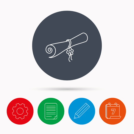 document file: Diploma icon. Graduation document sign. Scroll symbol. Calendar, cogwheel, document file and pencil icons.