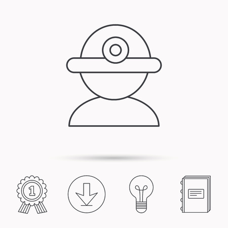 industrialist: Worker icon. Engineering helmet sign. Download arrow, lamp, learn book and award medal icons.