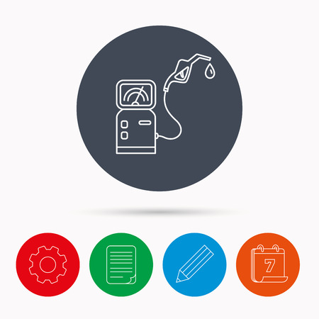 document file: Gas station icon. Petrol fuel pump sign. Calendar, cogwheel, document file and pencil icons. Illustration