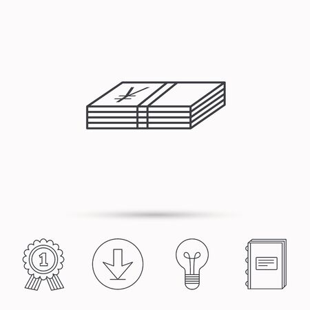 cash book: Cash icon. Yen money sign. JPY currency symbol. Download arrow, lamp, learn book and award medal icons.