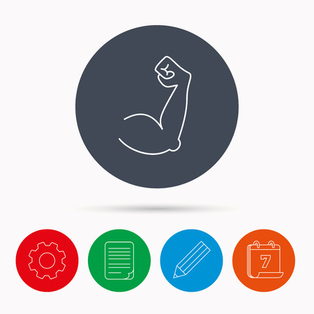 strong arm: Biceps muscle icon. Bodybuilder strong arm sign. Weightlifting fitness symbol. Calendar, cogwheel, document file and pencil icons.