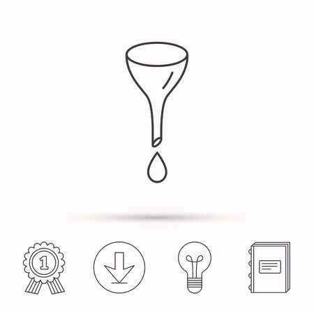 oil change: Oil change service icon. Fuel can with drop sign. Download arrow, lamp, learn book and award medal icons. Illustration