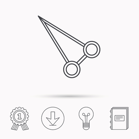 hemostat: Pean forceps icon. Medical surgery tool sign. Download arrow, lamp, learn book and award medal icons.