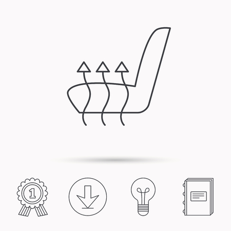 heated: Heated seat icon. Warm autoarmchair sign. Download arrow, lamp, learn book and award medal icons. Illustration