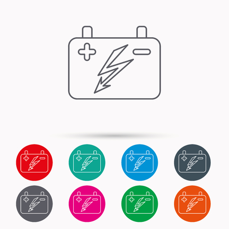 emitter: Accumulator icon. Electrical battery sign. Linear icons in circles on white background.