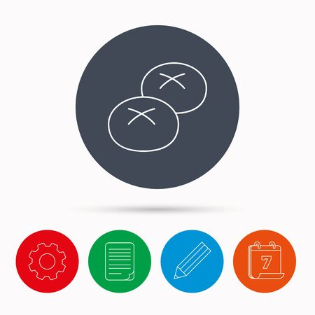 bread rolls: Bread rolls or buns icon. Natural food sign. Bakery symbol. Calendar, cogwheel, document file and pencil icons.