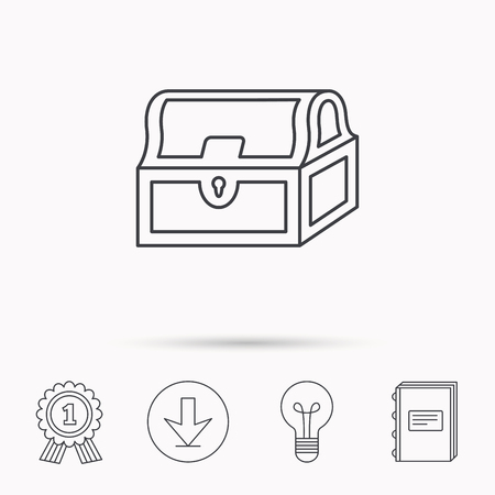 treasury: Treasure chest icon. Piratic treasury sign. Wealth symbol. Download arrow, lamp, learn book and award medal icons.