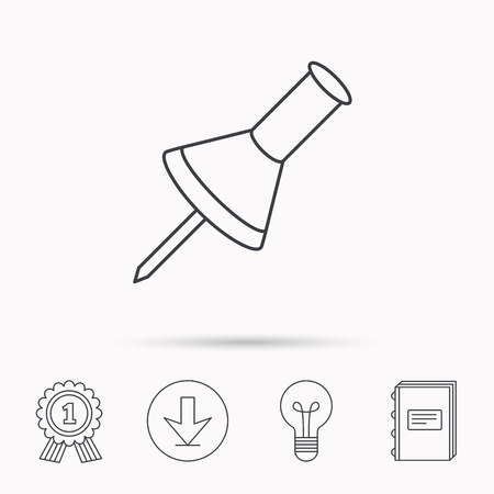 office stationery: Pushpin icon. Pin tool sign. Office stationery symbol. Download arrow, lamp, learn book and award medal icons.