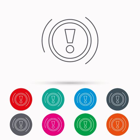 warning mark: Warning icon. Dashboard attention sign. Caution exclamation mark symbol. Linear icons in circles on white background. Illustration