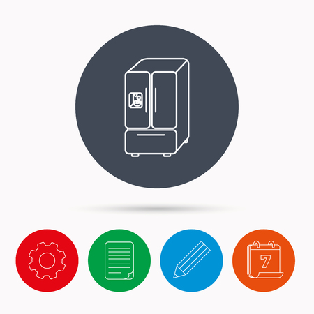 frig: American fridge icon. Refrigerator with ice sign. Calendar, cogwheel, document file and pencil icons.