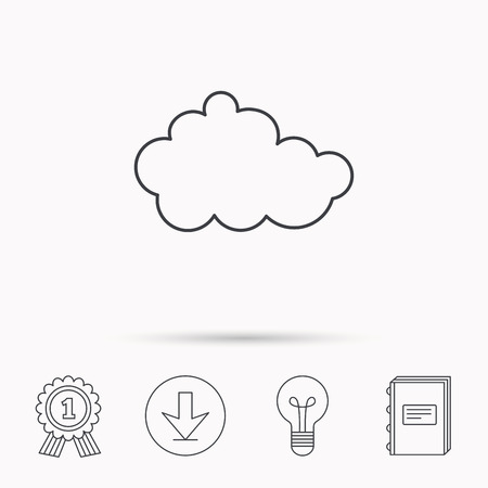 overcast: Cloud icon. Overcast weather sign. Meteorology symbol. Download arrow, lamp, learn book and award medal icons. Illustration