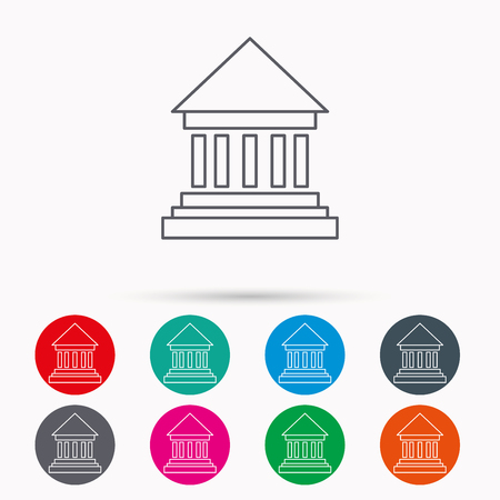 perspectiva lineal: Bank icon. Court house sign. Money investment symbol. Linear icons in circles on white background.