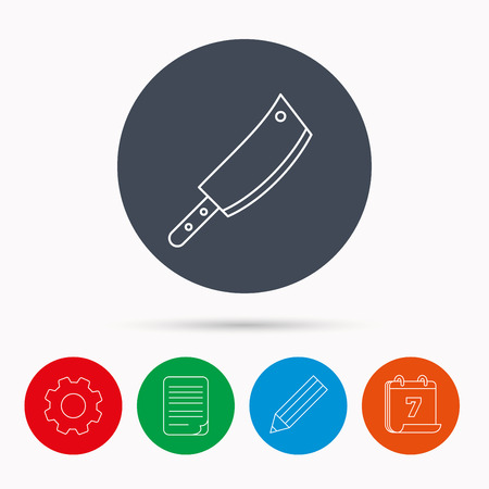 butcher knife: Butcher knife icon. Kitchen chef tool sign. Calendar, cogwheel, document file and pencil icons.