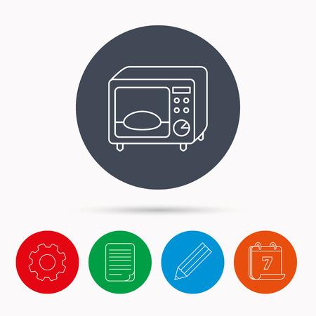 Mikrowelle Symbol. Küchengerät Zeichen. Kalender, Zahnrad-, Dokument-Datei und Bleistift-Icons.