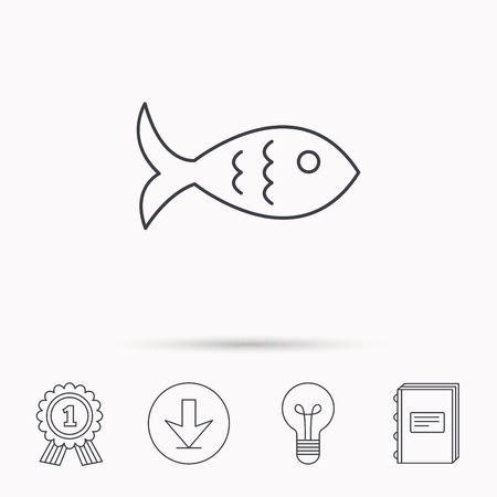 aquaculture: Fish icon. Seafood sign. Vegetarian food symbol. Download arrow, lamp, learn book and award medal icons. Illustration