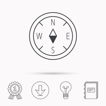 geographical: Compass navigation icon. Geographical orientation sign Download arrow, lamp, learn book and award medal icons.