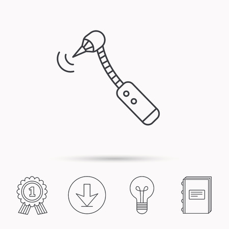 bur: Drilling tool icon. Dental oral bur sign. Download arrow, lamp, learn book and award medal icons.