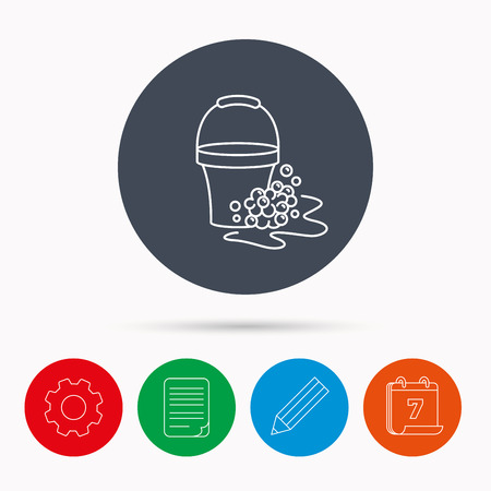 soapy: Soapy cleaning icon. Bucket with foam and bubbles sign. Calendar, cogwheel, document file and pencil icons.