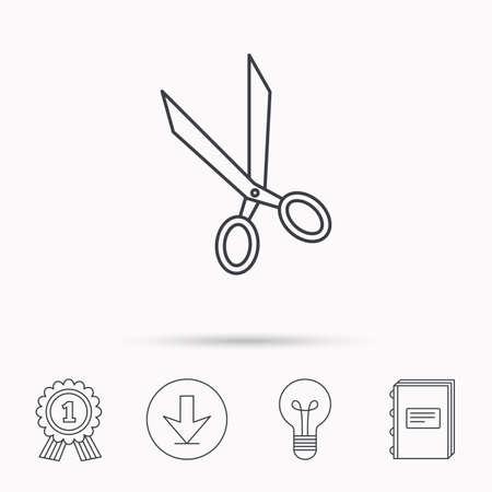 hairdressing scissors: Tailor scissors icon. Hairdressing sign. Grooming symbol. Download arrow, lamp, learn book and award medal icons.
