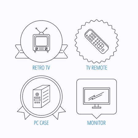 tv monitor: Retro TV, monitor and pc case icons. TV remote linear sign. Award medal, star label and speech bubble designs. Vector