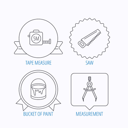Tape Measure Saw And Bucket Of Paint Icons Measurement Linear