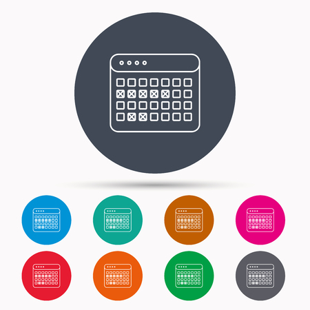 office buttons: Calendar icon. Vacations organizer sign. Office reminder symbol. Icons in colour circle buttons. Vector