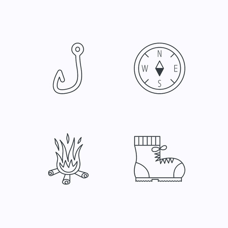 hiking boots: Fishing hook, compass and hiking boots icons. Bonfire linear sign. Flat linear icons on white background. Vector