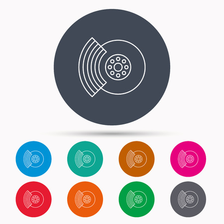 brakes: Brakes icon. Auto disk repair sign. Icons in colour circle buttons. Vector