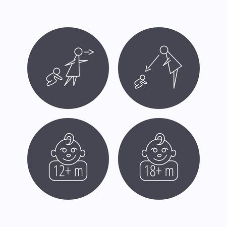 supervisión: Sin vigilancia, supervisión y padres 12 meses iconos niño. 18+ meses señal lineal niño. iconos planos de botones de círculo sobre fondo blanco. Vector Vectores