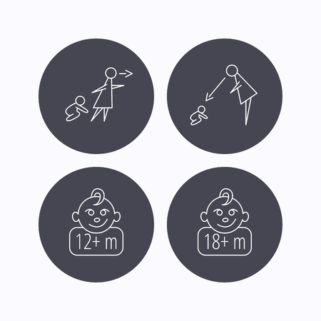 12 18 months: Unattended, parents supervision and 12 months child icons. 18+ months child linear sign. Flat icons in circle buttons on white background. Vector Illustration