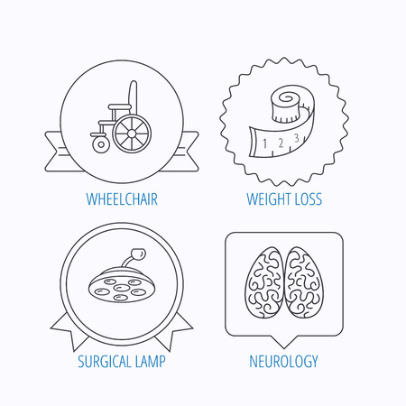 neurosurgery: Wheelchair, neurology and weight loss icons. Surgical lamp linear sign. Award medal, star label and speech bubble designs. Vector