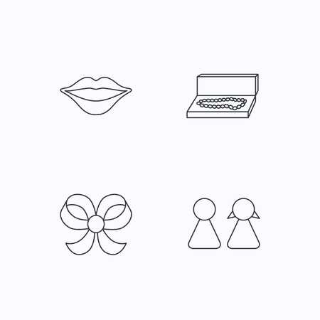 bowknot: Lips, box with jewelry and couple icons. Bow-knot linear sign. Flat linear icons on white background. Vector Illustration