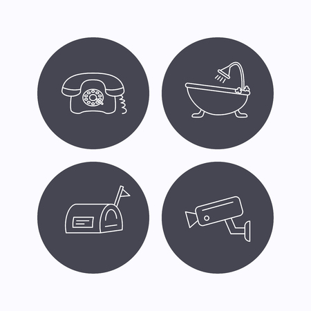 Retro phone, video camera and mailbox icons. Bath linear sign. Flat icons in circle buttons on white background. Vector Illustration