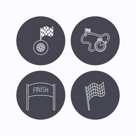 bandera carreras: Terminar bandera, temporizador de carrera y los iconos de las ruedas. pista de carreras señal lineal. iconos planos de botones de círculo sobre fondo blanco. Vector