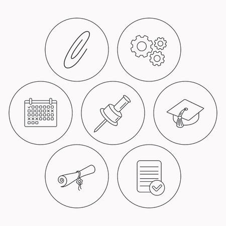 safety check: Graduation cap, pushpin and diploma icons. Safety pin linear sign. Check file, calendar and cogwheel icons. Vector
