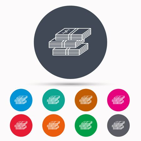 wads: Cash icon. Dollar money sign. USD currency symbol. 3 wads of money. Icons in colour circle buttons. Vector