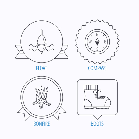 east river: Bonfire, fishing float and hiking boots icons. Compass linear sign. Award medal, star label and speech bubble designs. Vector