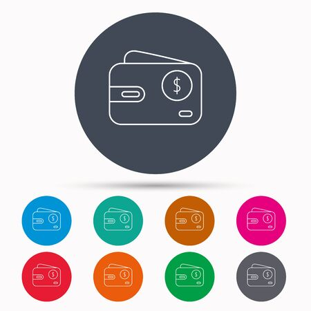 usd: Dollar wallet icon. USD cash money bag sign. Icons in colour circle buttons. Vector