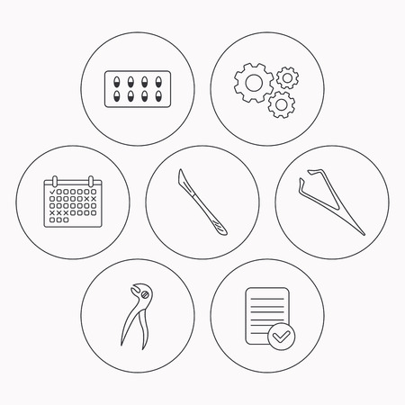 tweezers: Scalpel, capsules and dental pliers icons. Eyebrow tweezers linear sign. Check file, calendar and cogwheel icons. Vector