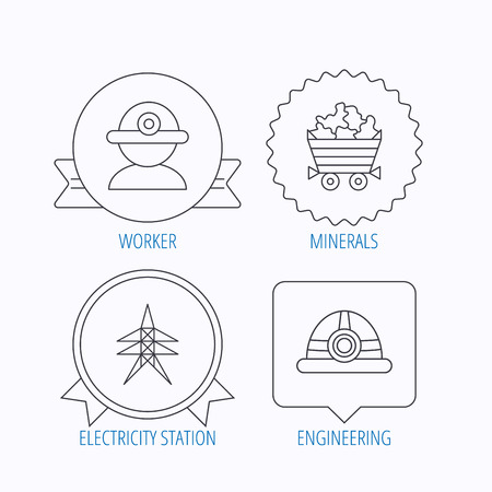 searcher: Worker, minerals and engineering helm icons. Electricity station linear sign. Award medal, star label and speech bubble designs. Vector