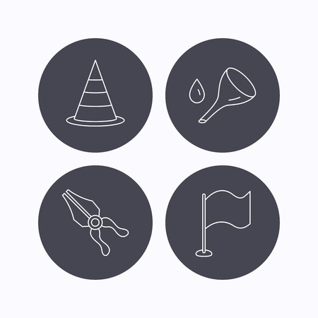 oil change: Flag, traffic cone and oil change icons. Pliers linear sign. Flat icons in circle buttons on white background. Vector